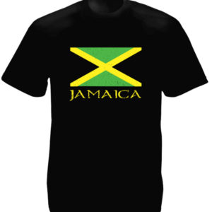 Jamaica Green Yellow Black Flag Black Tee-Shirt เสื้อยืดสีดำ Jamaica Green Yello