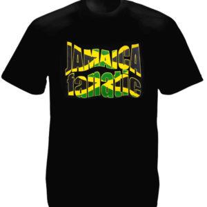 Jamaica Flag Colors Fanatic Black Tee-Shirt เสื้อยืดคอกลมสีดำสกรีนลายตัวอักษร Ja