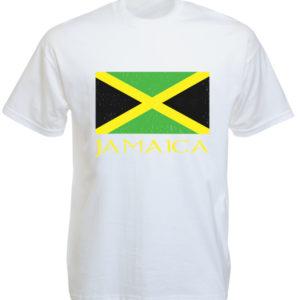 Jamaica Green Yellow Black Flag White Tee-Shirt เสื้อยืดสีขาว Jamaica Green Yell