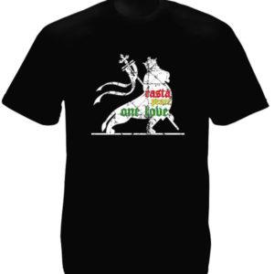 Rasta Lion Peace One Love Black Tee-Shirt เสื้อยืดคอกลมสีดำลายสิงโตสีขาว Lion Pe