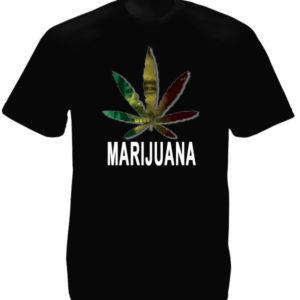 Marijuana Leaf Bob Marley Portrait Black Tee-Shirt เสื้อยืดคอกลมสีดำสกรีนลายใบกั