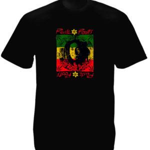 เสื้อราสต้าสีดำ ลาย Bob Marley และคำว่า Rasta Roots