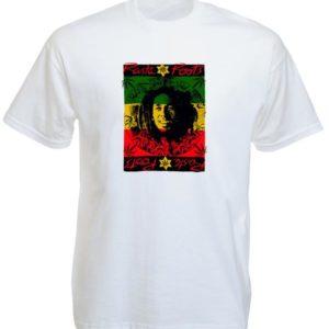 เสื้อยืดราสต้าสีขาว ลาย Bob Marley และคำว่า RASTA ROOTS
