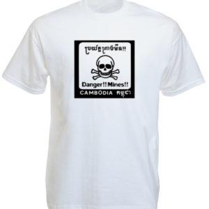 Cambodia Mines Danger White Tee-Shirt เสื้อยืดสีขาว Cambodia Mines Danger White