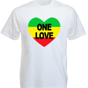 เสื้อยืดสีขาว ลาย One Love และรูปหัวใจราสต้า