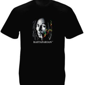 Bob Marley Rastafarian Smoking Joint Black Tee-Shirt เสื้อยืดสีดำลาย บ็อบ มาร์เล