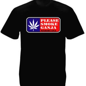 Please Smoke Ganja Black Tee-Shirt เสื้อยืดคอกลมสีดำสกรีนลายโปรดสูบบุหรี่