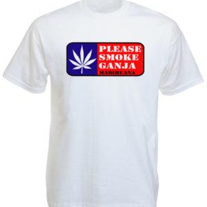 Please Smoke Ganja White Tee-Shirt เสื้อยืดสีขาวสกรีนลายโปรดสูบบุหรี่ สุดเท่ห์