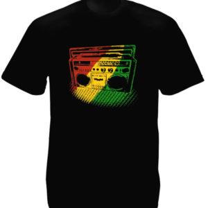 เสื้อยืดสีดำสไตล์ราสต้า Green Yellow Red Rasta Radio