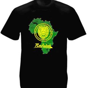 เสื้อยืดสีดำพิมพ์ลาย Rasjudah แผนที่ Africa และสิงโต