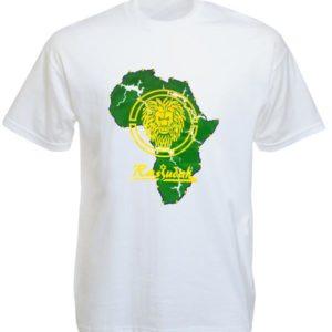 เสื้อยืดสีขาวพิมพ์ลาย Rasjudah แผนที่ Africa และสิงโต