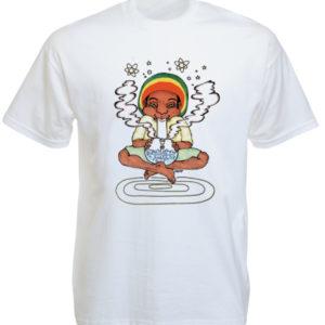 เสื้อยืดสีขาว ลาย Rastaman สูบกัญชา