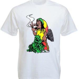 เสื้อยืดสีขาวลาย Rastaman สูบกัญชา