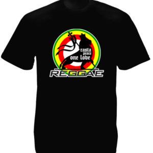Rasta Peace One Love Reggae Black Tee-Shirt เสื้อยืดคอกลมสีดำสกรีนลายสิงโตนักรบ