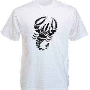 เสื้อยืดสีขาวพิมพ์ลายแมงป่อง Black Scorpion