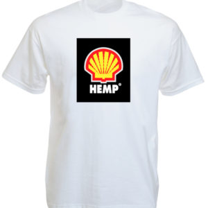 Hemp Shell Logo White Tee-Shirt เสื้อยืดคอกลมสีขาวสกรีนลายโลโก้เชลล์  สีสันสดใส