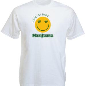 เสื้อยืดสีขาวลาย Land of Smile Marijuana