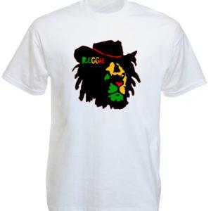 Reggae Colors Lion of Judah Face White Tee-Shirt เสื้อยืดคอกลมสีขาวสกรีนลายสิงโต