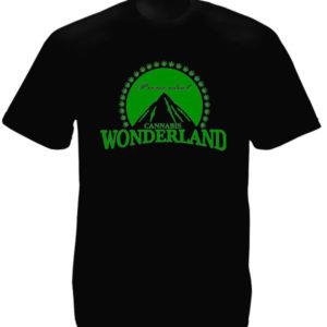 Paramount Wonderland Cannabis Black Tee-Shirt เสื้อยืดคอกลมสีดำสกรีนลายรูปภูเขาใ