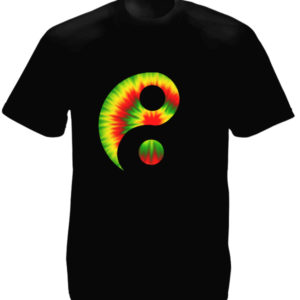 Rasta Yin and Yang Psychedelic Black Tee-Shirt เสื้อยืดคอกลมสีดำลายหยิงและหยาง ส
