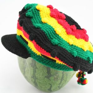 Tam Rasta Visor Balls Pattern Green Yellow Red หมวก CROCHET RASTA สีดำ-เขียว-แดง