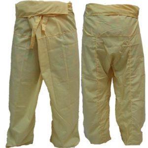 Trousers Thai Fisherman Pants Yellow กางเกงชาวเลสไตล์ราสต้า-เรกเก้ สีเหลืองอ่อนห